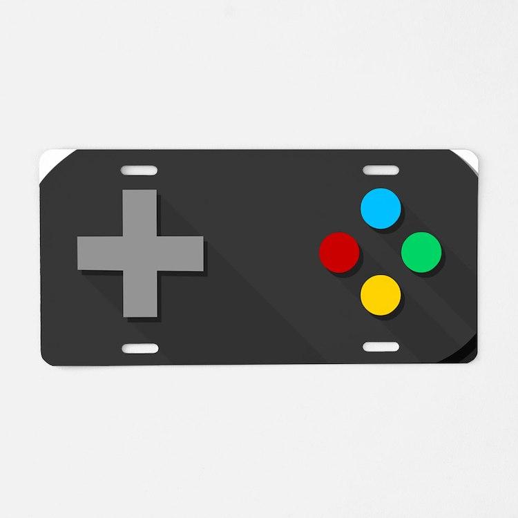 Game Console Black Joystick Aluminum License Plate