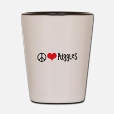 Peace Love and Puggles Shot Glass