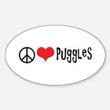 Peace Love and Puggles Decal