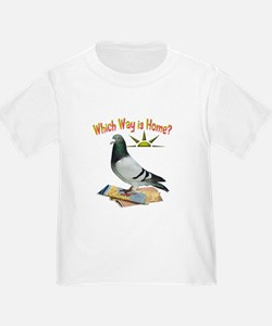 Which Way is Home? Fun Lost Pigeon Art T-Shirt