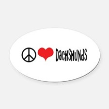 Peace Love and Dachshunds Oval Car Magnet