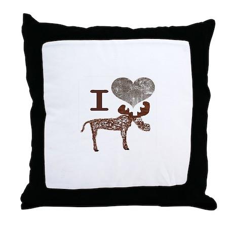 I heart Moose Throw Pillow