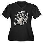 Tribal Frond Women's Plus Size V-Neck Dark T-Shirt