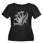 Tribal Frond Women's Plus Size Scoop Neck Dark T-S