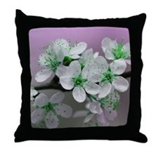 Green Blossom Throw Pillow