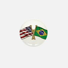 Brazil USA friendship flag Mini Button (10 pack)