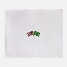 Brazil USA friendship flag Throw Blanket