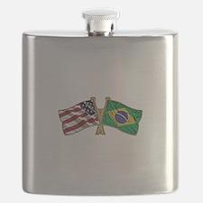 Brazil USA friendship flag Flask