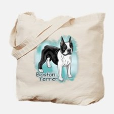 Boston Terrier on Blue Background Tote Bag