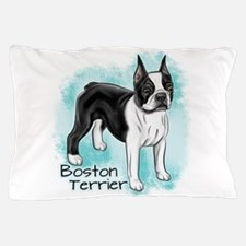 Boston Terrier On Blue Background Pillow Case