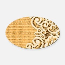 sunflower yellow burlap lace Oval Car Magnet
