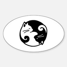 Funny Ying yang Sticker (Oval)