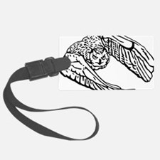 Owl in Flight Drawing Outline Luggage Tag