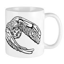 Owl in Flight Drawing Outline Mugs