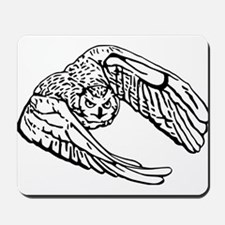 Owl in Flight Drawing Outline Mousepad