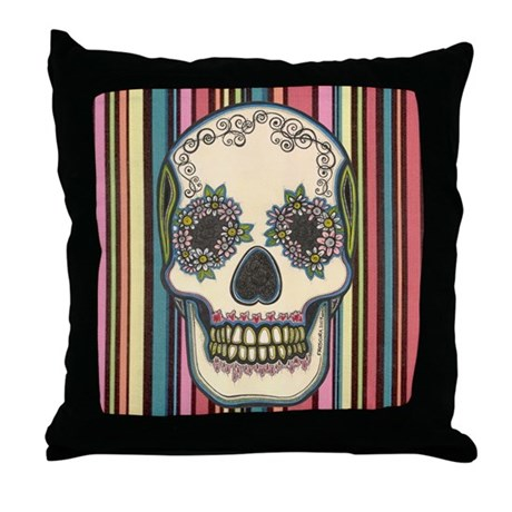 Dia De Los Muertos Sugar Skull 1 Throw Pillow By Frescura