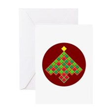 xmas quilt treesave nb gold red rnd Greeting Card