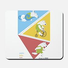Triathlon Polar Bears Poster Mousepad
