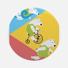 Polar Bear Triathletes Triangles Round Ornament