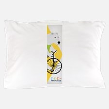 Cycling Polar Bear Banner Pillow Case