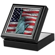Patriotic Art : Ceramic Tile Top Box