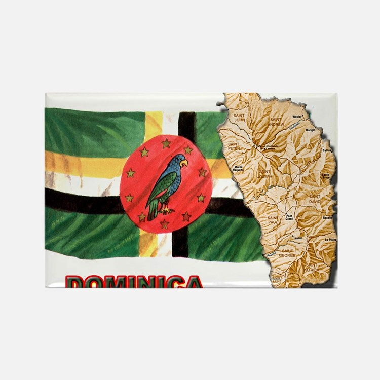 Cute Dominica flag Rectangle Magnet
