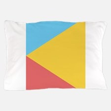 Bold Blue Yellow Red Triangles Pillow Case