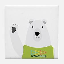 Waving Polar Bear Tenacious Youth Tile Coaster
