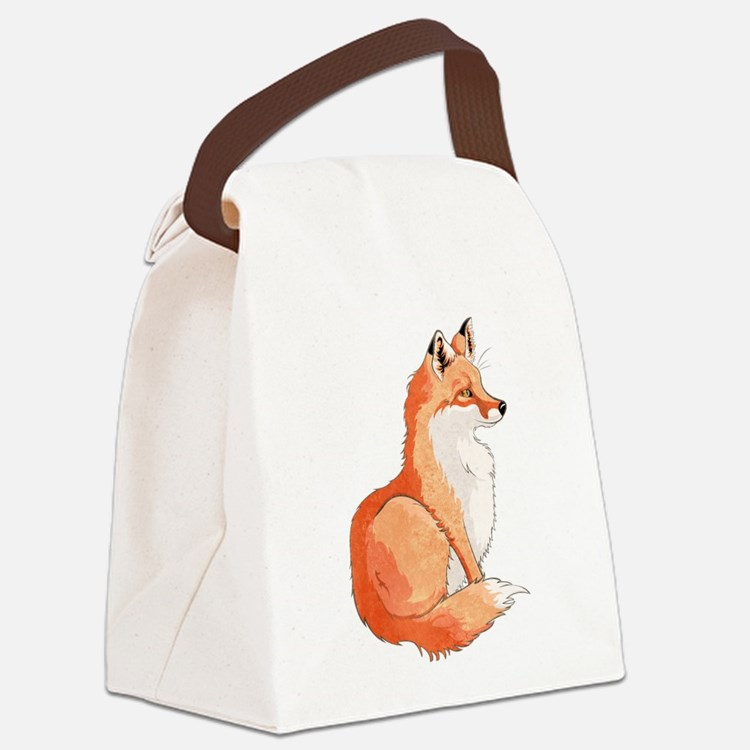 Sitting Fox Canvas Lunch Bag