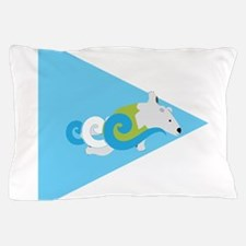 Swimming Polar Bear Triangle Arrow Pillow Case