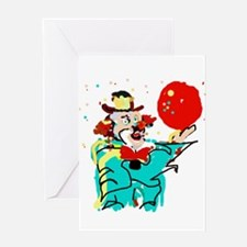 Turquoise Clown Greeting Cards