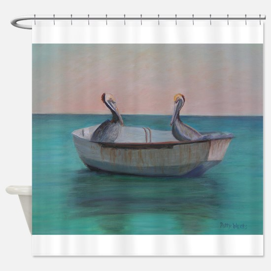 TWO FRIENDS IN A DINGHY Shower Curtain