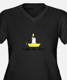 Light my Fir Women's Plus Size V-Neck Dark T-Shirt