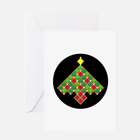 xmas quilt treesave gold black rnd Greeting Card