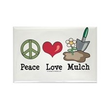 Peace Love Mulch Gardening Rectangle Magnet