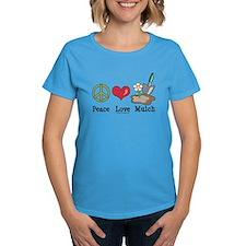Peace Love Mulch Gardening Blue T-Shirt