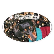 Dachshunds Happy Holidays Oval Decal