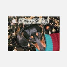 Dachshunds Happy Holidays Rectangle Magnet