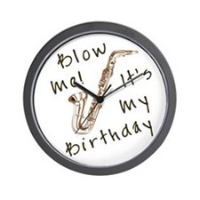blow me birthday sax Wall Clock
