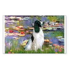 Monet's Lilies & English Spri Sticker (Rectangular