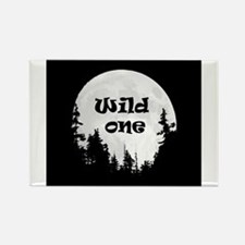 Wild One Fun Quote Moon and Trees Magnets