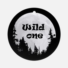 Wild One Fun Quote Moon and Trees Round Ornament