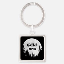 Wild One Fun Quote Moon and Trees Keychains