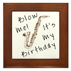 birthday horn blow me Framed Tile