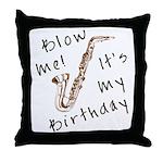 birthday horn blow me Throw Pillow