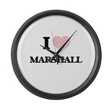 I Love Marshall Large Wall Clock
