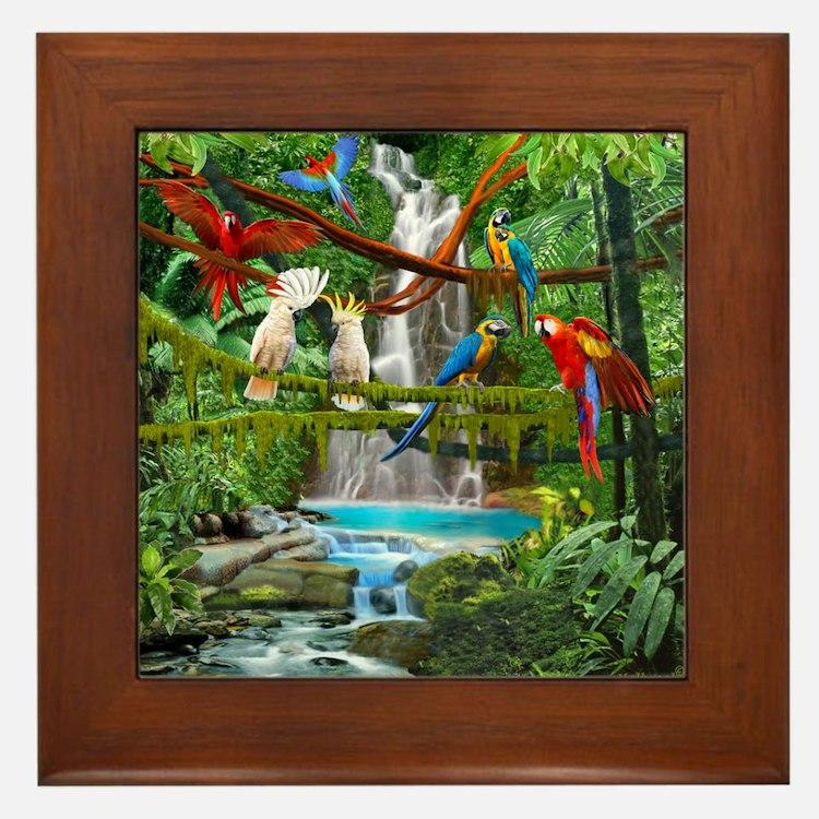 Cute Tropical birds Framed Tile