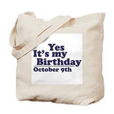 October 9th Birthday Tote Bag