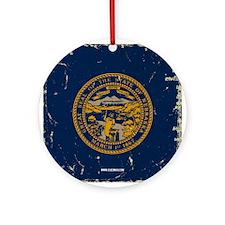 Nebraska State Flag VINTAGE Ornament (Round)
