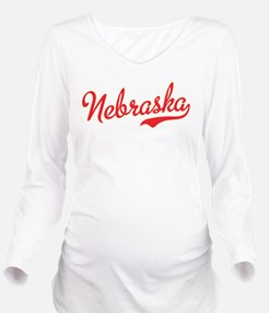 Nebraska Script Font Long Sleeve Maternity T-Shirt